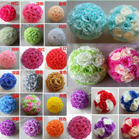 Wholesale Silk Kissing Pomander - Available 28 Colors 8''20cm Wedding Decorations Silk Kissing Pomander rose Flowers Balls Wedding bouquet Home decorations Free shipping