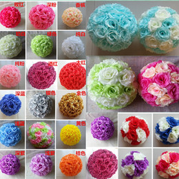 Wholesale Silk Rose Ball Bouquet - Available 28 Colors 8''20cm Wedding Decorations Silk Kissing Pomander rose Flowers Balls Wedding bouquet Home decorations Free shipping