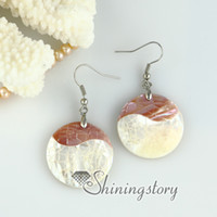 Wholesale Pink Mother Pearl Shell - oyster sea shell round oval heart teardrop patchwork dangle earrings mother of pearl jewelry High fashion jewelry abalone shell jewelry