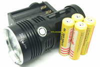 Wholesale T6 Led 7x - SKYRAY 7T6 LED Flashlight 9000 Lm 7x CREE XM-L T6 LED Torch Light + 18650 Battery + Charger Free Shipping