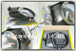 head magnifier led Canada - Lighted Magnifying Glass Headset LED Head Headband Magnifier Loupe 4 Lens