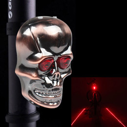 Wholesale Laser Skull - 2015 New 2 Laser Beam Skull Head 2 LED Cycling Bike Bicycle Safety Tail Light Lamp Free Shipping