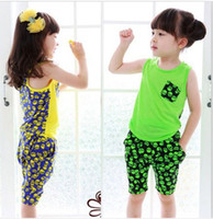 Wholesale candies vest - Summer Girls suit set Girls suit vest + shorts 2 pcs set kids sleeve less cotton clothing Candy colors 5p l