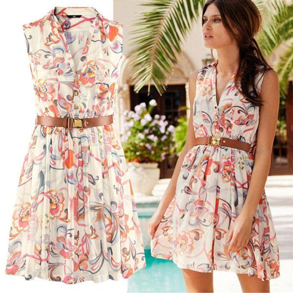 Summer New Fashion Women Floral Print Short Chiffon Dress Sexy ...