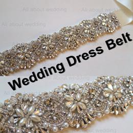 Wholesale Crystal Wedding Dress Sash Belt - Wedding Dress Belt 2014 Glass Crystal Rhinestone Pearl Handmade Bridal Accessory Belt Sash Shinny Free Shipping