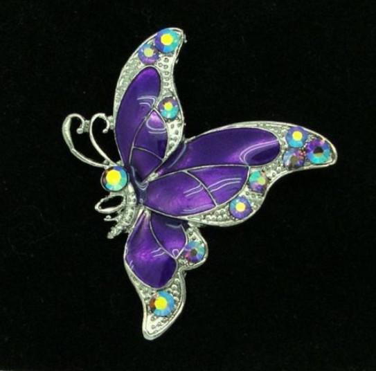 Broche de mariposa color púrpura plateado con cristales