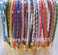 Wholesale 22 Braided Leather - 100pieces lot 3.0mm 7inches--9inches (22 color) faux braided leather with gold color clasp bracelet
