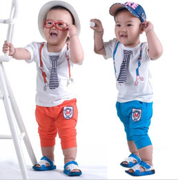 Wholesale Orange Striped Ties - Wholesale -New Arrival Baby Boys 2pcs Suits T-shirt+Pants+Tie Boy Sport Clothing Suits Printed Top Summer Outfits Children Clothing 5s l