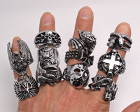 Wholesale Silver Skull Jewelry Wholesale - OverSize Gothic Skull Carved Biker Mixed Styles lots Men's Anti-Silver Rings Retro New Jewelry r0079
