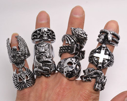 Wholesale Wholesale Carvings - OverSize Gothic Skull Carved Biker Mixed Styles lots Men's Anti-Silver Rings Retro New Jewelry r0079