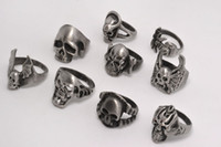 OverSize Gothic Skull Carved <b>Biker Mixed</b> Men's Anti-Silver Brushed Rings Retro New Jóias r0387 Mixed Sizes