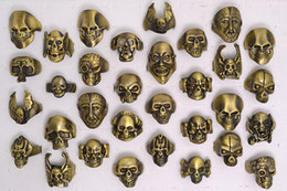 Wholesale Retro Brushes - OverSize Gothic Skull Carved Biker Mixed Men's Anti-Brass Brushed Rings Retro New Jewelry r0079