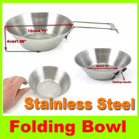 Wholesale 2014 new Stainless Steel Bowl outdoor hiking picnic cookware camping bowl handle portable folding steel bowl camping tableware