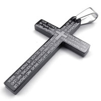 Fashion Jewelry Stainless Steel Mens Lords Prayer Cross Pend...