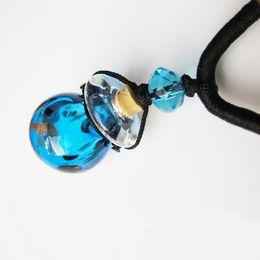 Wholesale Murano Glass Perfume - Beautiful Murano Glass Perfume Pendant Necklace Essential Oil Vials Wishing Bottle Valentines Gift 5pcs lot DC901