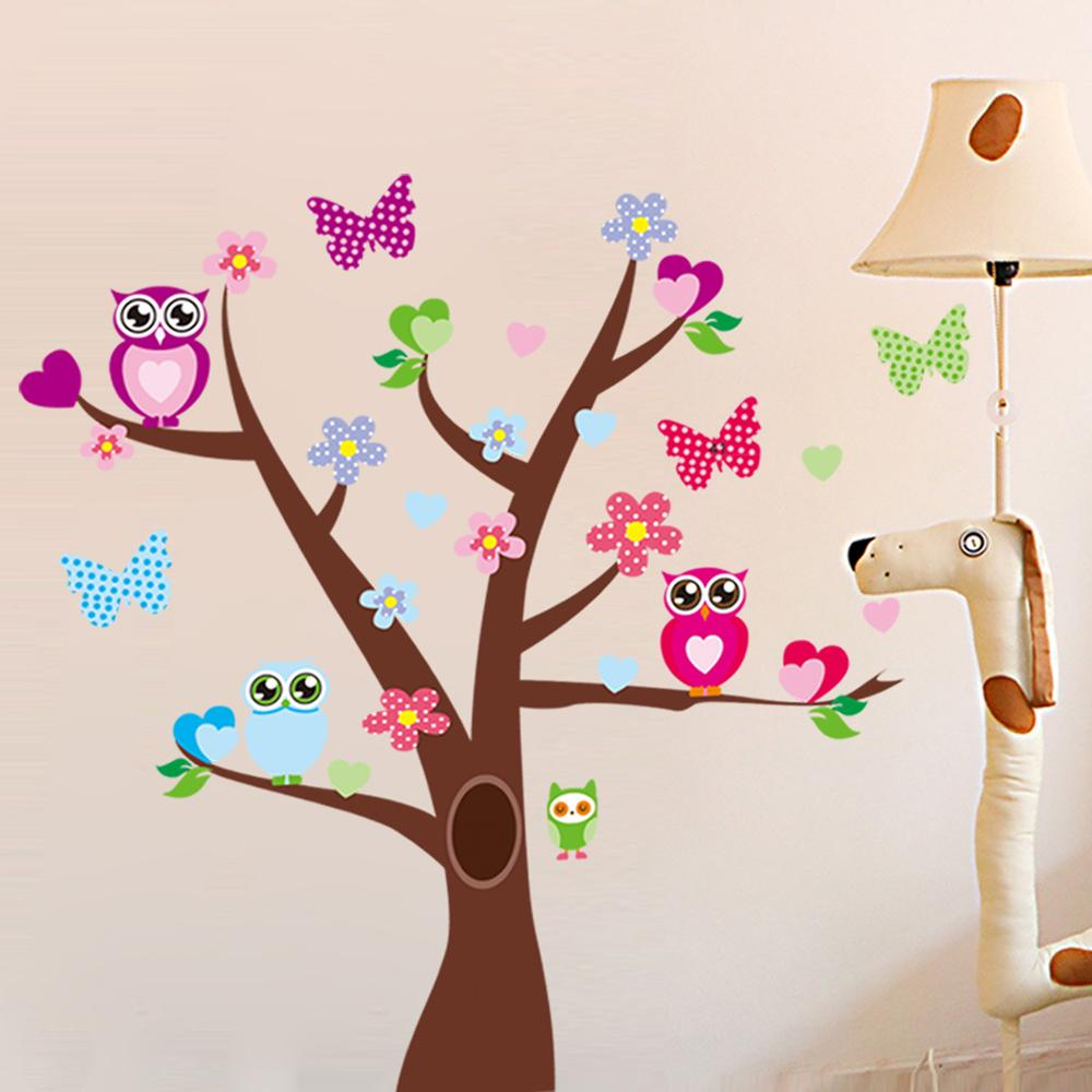 large tree wall stickers owls butterflies cartoon peel and stick large tree wall stickers owls butterflies cartoon peel and stick nursery wall decals stickers removable wall decor removable wall graphics from flylife