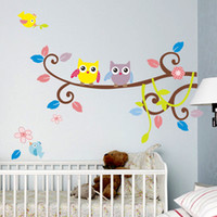 Wholesale Owl Stickers For Nursery - Owl Wall Stickers for Kids Room Decor Nursery Cartoon Wall Decals Stickers