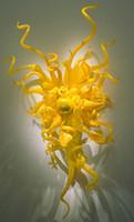 arte de la pared de flores amarillas al por mayor-Venta caliente Limón Amarillo Flor Arte Aplique de pared de Cristal de Moda hecho a mano Lámparas de Pared de Vidrio Soplado led lámparas de pared