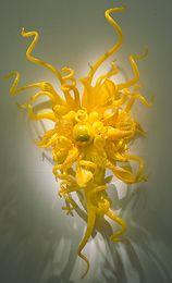 números de casa iluminados Rebajas Venta caliente amarillo limón flor arte aplique de pared de vidrio lámparas de pared de vidrio soplado hechas a mano de moda lámparas de pared led