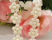 Wholesale Wholesale Faux Pearl Garland - 2 Yard 15mm Ivory White Flower Faux Pearl Garland Wedding Centerpiece Decoration