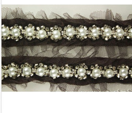 Wholesale Decoration Pearl Trim - 2 Yard Black Beautiful Lace and Pearl Beaded Trim Ribbon For Sewing Wedding Decoration