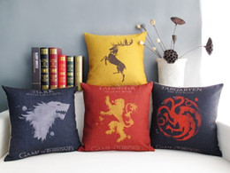 Wholesale Cool Chair Cushions - Free shipping Cool Game of Thrones Star Baratheon Targaryen pattern cushion cover home car bar cafe boat chair decorative throw pillow case