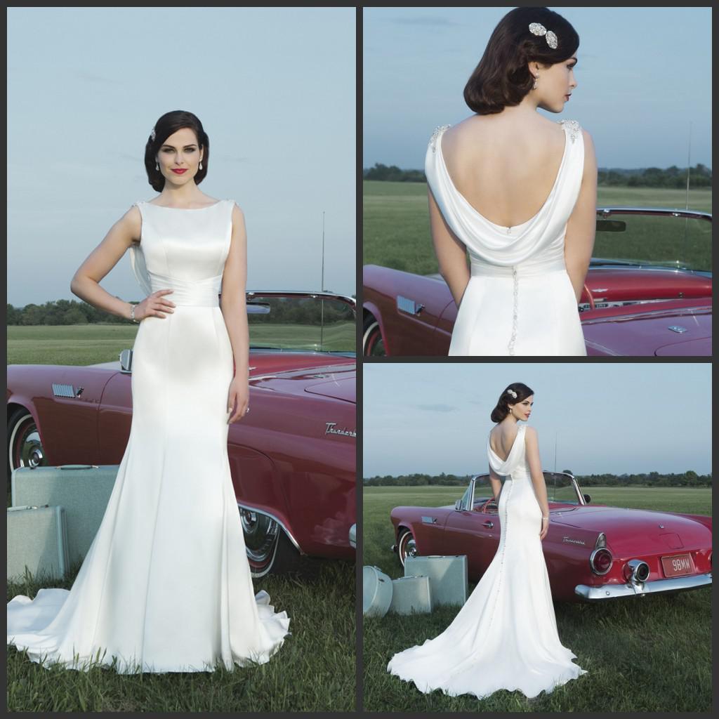 Cowl Neck Satin Wedding Gowns: 2014 Fall Simple Bateau Justin Alexander Wedding Dresses