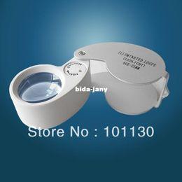 Wholesale Loupe Magnifying Glass Illuminated - High Power White Pocket 40x25mm Illuminated Magnifier Gem Magnifying Glass LED Loupe CE Passed MG21011