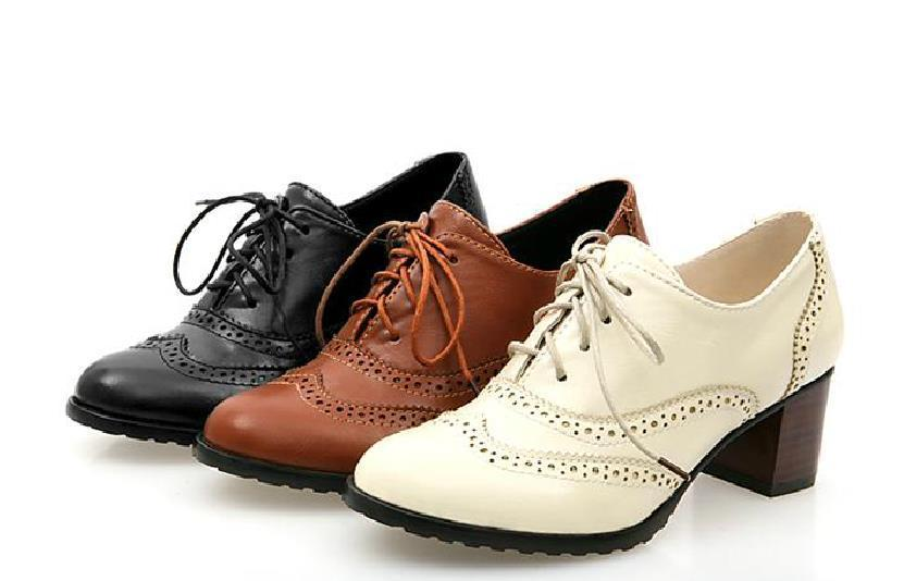 Cheap 2015 New Classics Women Lace Up Oxford Heels Shoes Boots ...