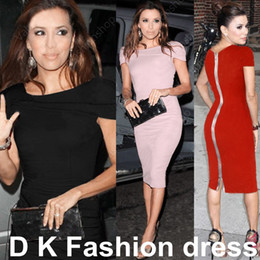 formal work women dresses Promo Codes - Sexy Red Pink Black Bodycon Dress Cocktail Celebrity Kim Kardashian Style Women's Fashion New Pencil Formal Work Casual dresses DK4006SY