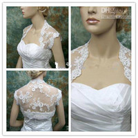 Wholesale Apricot Lace Dress - 2015 bridal accessories Wedding Dresses Hot Sale White Lace Jacket Bolero Sleeveless Match for The Wedding Dresses Prom Gowns