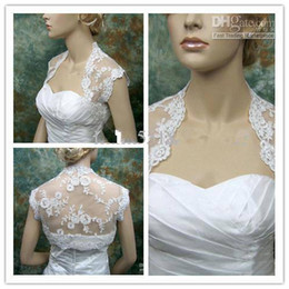 Wholesale Sleeveless Bridal Bolero - 2015 bridal accessories Wedding Dresses Hot Sale White Lace Jacket Bolero Sleeveless Match for The Wedding Dresses Prom Gowns