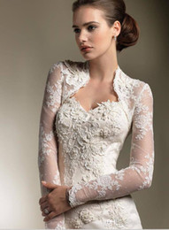 Wholesale Shawl Appliques - 2015 Bridal Wraps & Jackets Lace Applique Long Sleeves Bolero Jacket Shawl Coats Bridal Accessories Wedding & Events