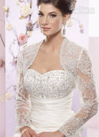 Wholesale Custom Jackets For Cheap - 2015 newest jacket Long Sleeve Bolero Beaded Appliques White Off White Tulle Net 2014 Vintage Bridal Wraps Cheap Jackets For Wedding Dresses