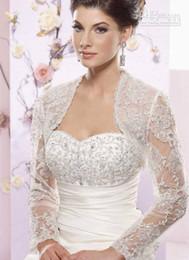 Wholesale Cheapest Black Lace Jacket - 2015 newest jacket Long Sleeve Bolero Beaded Appliques White Off White Tulle Net 2014 Vintage Bridal Wraps Cheap Jackets For Wedding Dresses