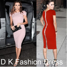 Wholesale Knee Length Work Pencil Dress - Free shipping 2017 New Fashion Women Celeb Party Wear To Work Evening Back Zipper Cotton Tunic Sheath Bodycon Pencil Dress Pink kim DK4006SY