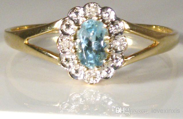 Venta al por mayor - una multa 9CT AMARILLO del óvalo del oro CUT BLUE TOPAZ DIAMOND CLUSTER KATE ANILLO 1,9 g