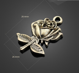 Wholesale Flower Earring Diy - Hot sale! 12966 150Pcs bronze rose Flower Charms Necklace Pendants earrings Pendants DIY Charms