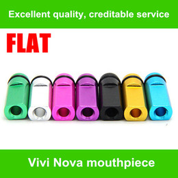 Wholesale Ego Metal Cartomizers - High quality Flat Metal Drip Tip Head Metal Mouthpiece For EGO Atomizer E Cigarette 510 series DCT Vivi Nova Cartomizers Colorful