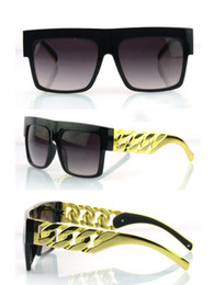 Wholesale Metal Chain Sunglasses - Metal Arm! New 2014 Kim Kardashian Beyonce Celebrities Style Flat Top Men Women Metal Gold Chain Twisted Riskier Sunglasses