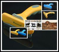 "Wholesale Shedding Grooming Tool - 200Pcs lot Yellow Blue Great Quality Pet Supplies Fasaiton Deluxe Large 4"" Pet shedding Tool for Dog Grooming F306"