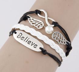 Wholesale Angels Wings Bracelet - New Vintage Silver Letters Pearl Wing Believe Charm Bracelets Multilayer Pattern Leather Chain Bracelet For Women Men SF3