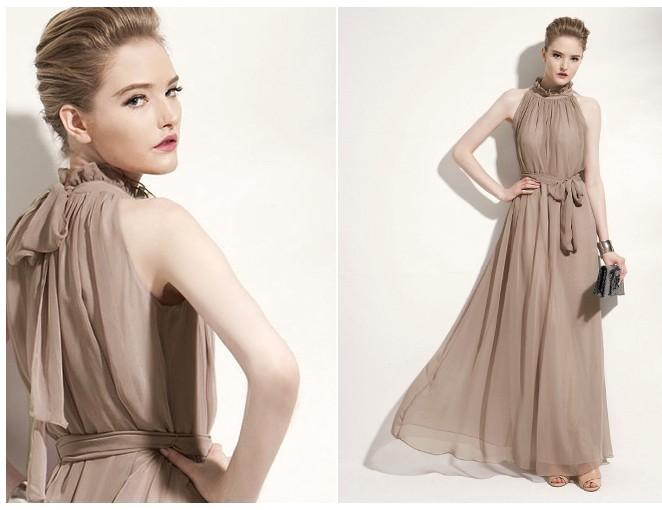 Lady Angel Free Shipping Short Beige Chiffon Bridesmaid: Loose Show Thin Long Chiffon Dress Evening Dress Dress New