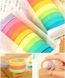 Wholesale Color Masking Tape - 20 PCS high quality bright candy solid color washi masking tape washi tape Wedding decoration paper tape