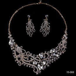 Heart Key Dangle Australia - 2019 vintage women Fashion Wedding Dangle Earrings Crystal Pendant Necklace Jewelry Set cheap in stock bridal Jewelry free shipping 15081