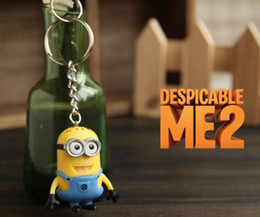 Wholesale Key Ring Mobiles - Lovely 5CM 3D Despicable Me 2 Cartoon Minion Action Figure Keychain Lover Keyring Key Ring Mobile Chain For Christmas Gift Toy 1Set=2pcs