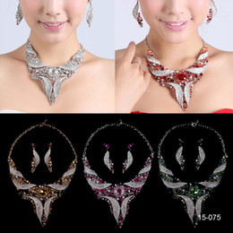 Copper earrings online shopping - Womens Fashion ivory Wedding Dangle Earrings Crystal pearl Pendant Necklace Jewelry Set in stock