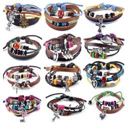 Wholesale Leather Braided Bracelet Bangle Cross - Brand NEW Punk Fashion Leather Braided Hemp Surfer Belt Bracelet Wristband Cuff Bangle Free Shipping[B703-B714M*12]