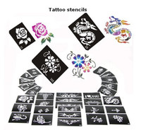 Wholesale Design Sheet Stencils Tattoo - Free shipping 50 Mixed Design Sheets Glitter Temporary Tattoo Stencils