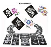 ingrosso fogli di design del tatuaggio-Spedizione gratuita 50 Mixed Design Sheets Glitter Temporary Tattoo Stencils